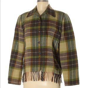 Carlisle green plaid fringe wool jacket